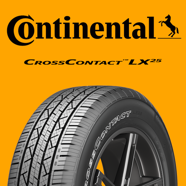 Continental Logo with CrossContact LX25 Tire tread