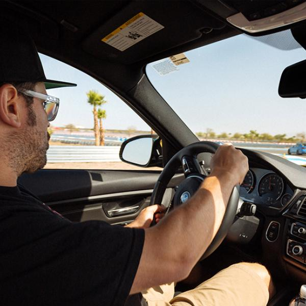 Man in the driver's seat at BMW Performance Driving School